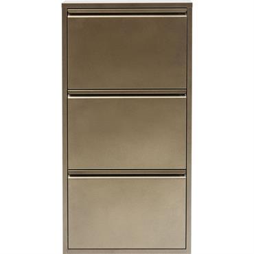 Casier à chaussures 3 tiroirs en acier bronze