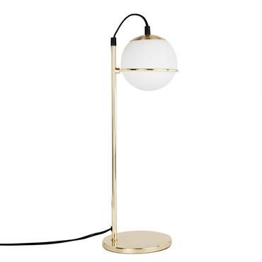 Lampe en verre et métal doré