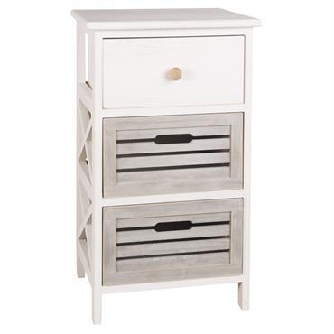 Petit meuble de rangement 3 tiroirs en paulownia