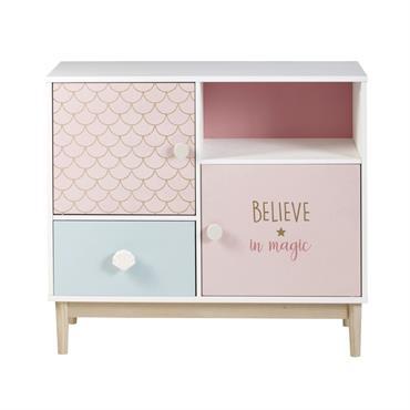 Cabinet de rangement 1 tiroir 2 portes blanc