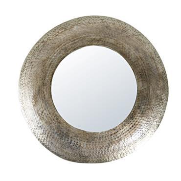 Miroir rond en métal martelé vieilli D85