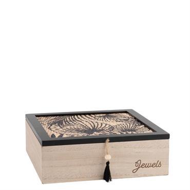Boîte à bijoux en rotin noir bicolore à imprimé floral