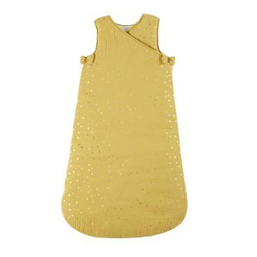 Gigoteuse bébé évolutive 0/18 mois en coton jaune moutarde motifs à pois dorés