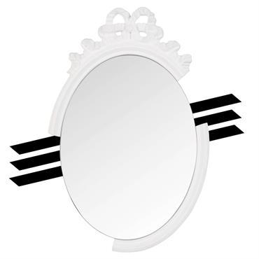 Miroir ovale à moulures blanches 36x60 Chantal Thomass