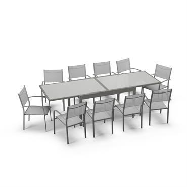 Table de jardin extensible 10 places en aluminium gris