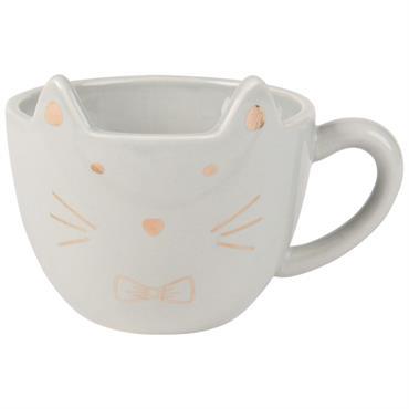 Tasse chat en faïence gris anthracite