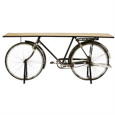 Console bicyclette indus en manguier et métal noir