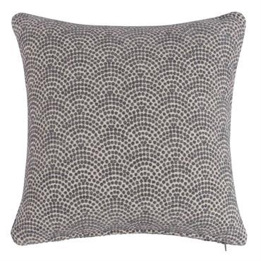 Coussin gris motifs graphiques 45x45