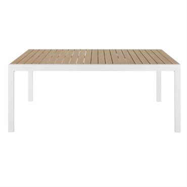 Table de jardin extensible en aluminium imitation teck 8 personnes à 12