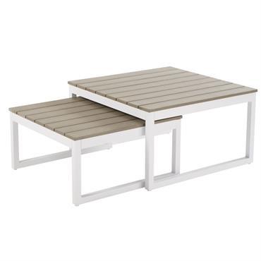 Envie de créer un esprit bord de mer revisité dans votre extérieur ? Agrémentez votre terrasse à l'aide des tables gigognes de jardin en aluminium blanc ESCALE . Leur originalité ...