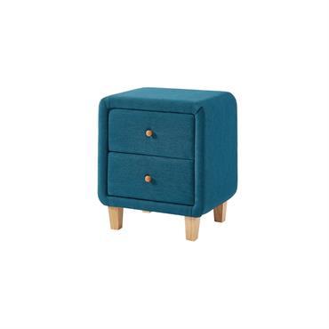 Table de chevet 2 tiroirs en tissu bleu canard