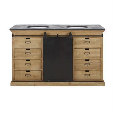 Craquez pour le style indus jusque dans votre salle de bains avec le meuble double vasque GERMAIN ! Grâce à lui, chacun sa vasque, chacun son espace, mais un même ...