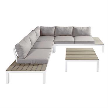 À la fois sobre et tendance, le salon de jardin 6 places ANDAMAN se démarque par son charme moderne et ses lignes simples. Grâce au composite imitation bois, ce canapé ...
