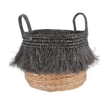 Panier en abaca à franges noires H36