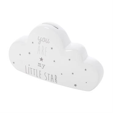 Pour mettre à l'abri les économies et petits trésors de votre bout de chou, rien de tel que la tirelire nuage en céramique blanche et grise DREAMS . Votre enfant ...