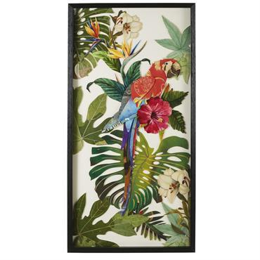 Déco murale perroquet en papier multicolore 50x100