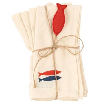 Serviettes en coton motif poissons 40x40