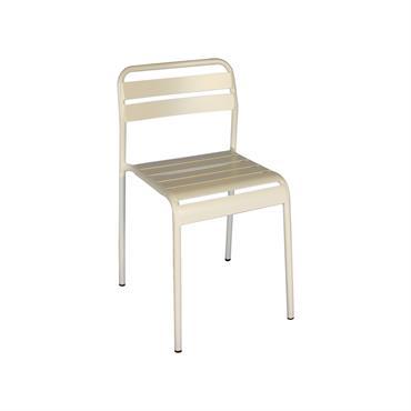 Chaise design en métal   ODILE  Beige