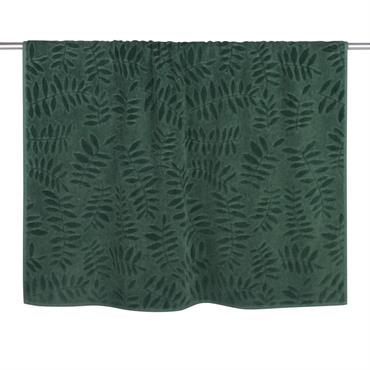 Drap de bain en coton vert motifs feuilles 100x150
