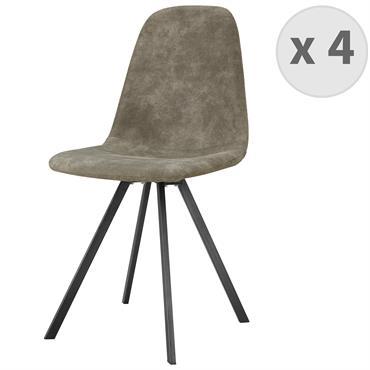 Chaise industrielle microfibre marron vintage pieds noirs