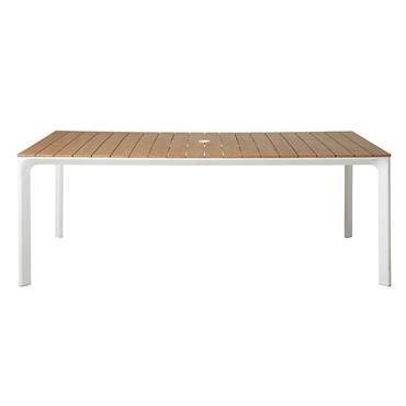 Table de jardin en aluminium blanc 6/8 personnes L200 Fuji