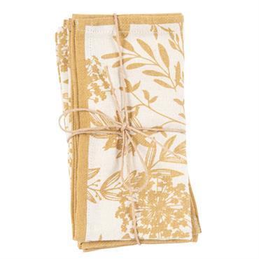 Serviettes en coton écru imprimé floral jaune