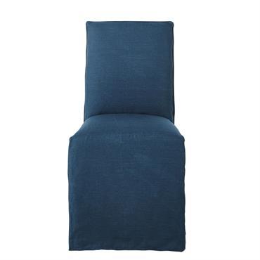 Housse de chaise en lin lavé bleu saphir