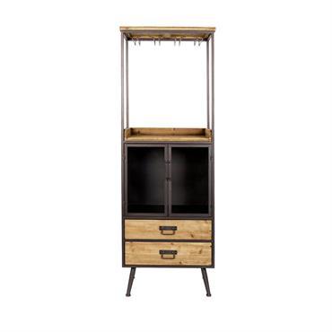 Armoire bar à vin vintage High bois  et  métal