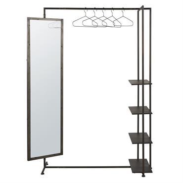 Idéal pour une entrée ou une chambre, ce portant en métal noir avec miroir et étagères BLAKE ne manquera pas de vous charmer ! On adore son miroir orientable qui ...