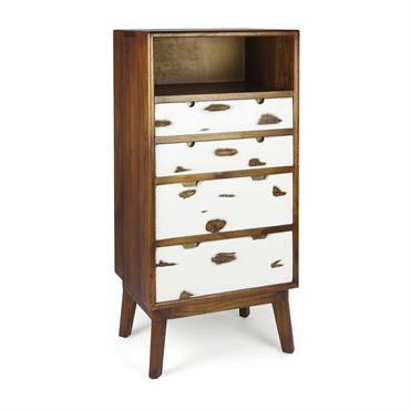 Commode en bois marron et blanc H125cm