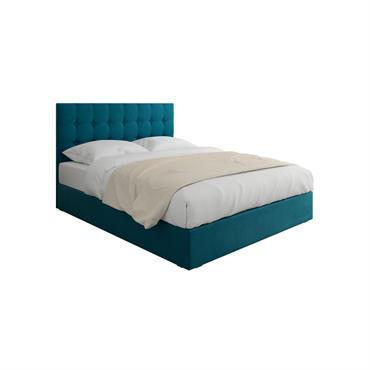 Lit en velours bleu canard 160x200 avec sommier et tête de lit