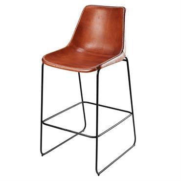 Chaise de bar en cuir de chèvre marron et métal noir Waterloo