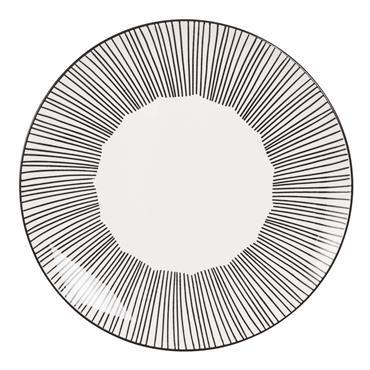 Assiette plate en faïence blanche motifs à rayures