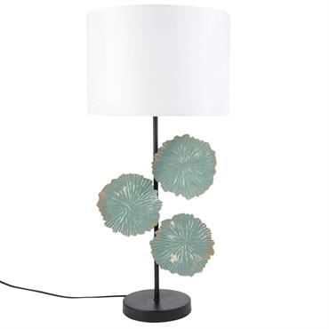 Lampe fleurs en métal et abat-jour blanc