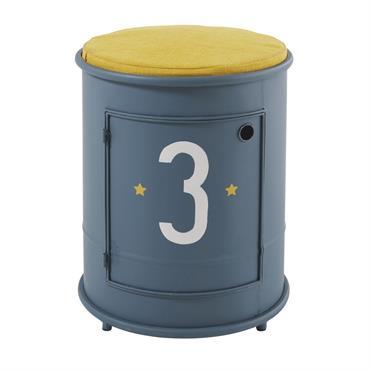 Table de chevet et assise enfant en métal bleu Petit Bolide