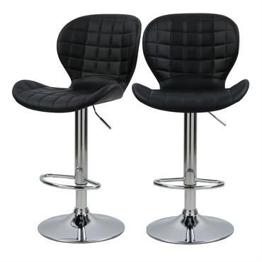 Chaise de bar réglable 53/74cm en cuir synthétique noir