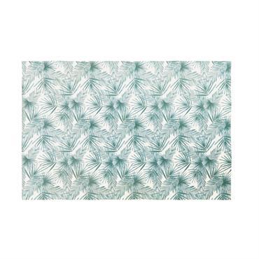 Tapis en coton vert et blanc imprimé végétal 140x200