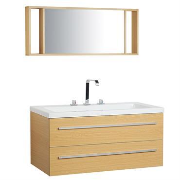 Meuble vasque à tiroirs beige avec miroir