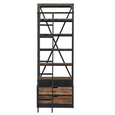Bibliothèque 86 cm en bois et métal avec échelle