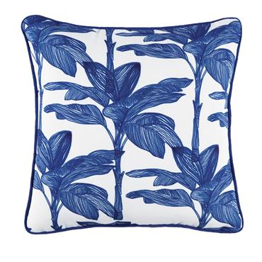 Coussin d'extérieur blanc imprimé végétal bleu 45x45