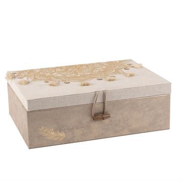 Boîte à bijoux beige et écrue motif mandala