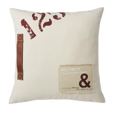 Coussin en coton beige imprimé et cuir de buffle marron 45x45