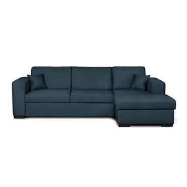 Canapé d'angle droit convertible en tissu bleu
