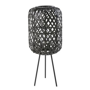 Lanterne en bambou tressé et métal noirs