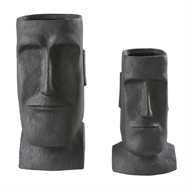 Cache-pots en fibre de verre noir H65