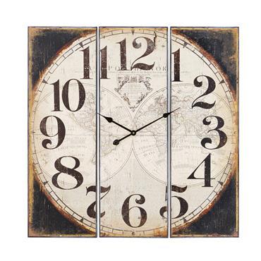 Horloge triptyque en métal imprimé 90x90