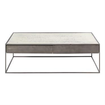 Table basse en fer gris et verre trempé Calixte