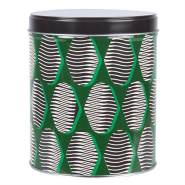 Boîte en métal noir à motifs verts et blancs 10x12