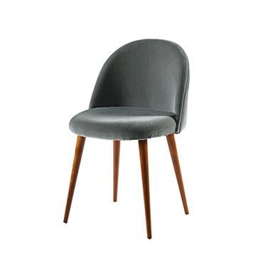 Chaise vintage en velours gris anthracite et bouleau Mauricette
