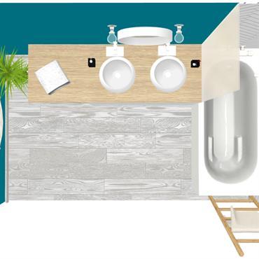 Réorganisation avec relooking d'une salle de bains de 5 m²  Simplicité et fraîcheur dominent cette salle de bains qui ne manque ... Domozoom